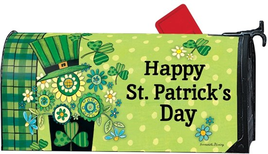 Happy St Patricks Day Clover Hat Magnetic Mailbox Cover
