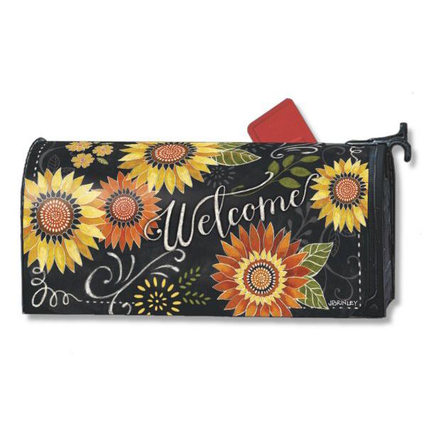 Fall Sunflower Whimsy Flower Magnetic Mailbox Cover