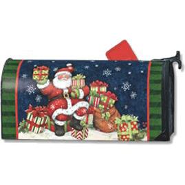 winter village santas gifts mailbox cover