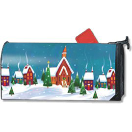 holy night winter village mailbox cover
