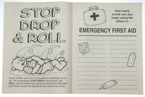 sample page view of coloring book with first aid coloring