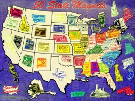 State Shape Metal Magnet Board