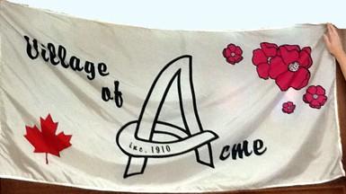 [flag of Acme, Alberta]